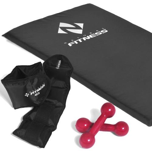 Kit Colchonete Espuma 20 mm + Par de Halter 2kg + Par de Caneleiras 4kg - Natural Fitness