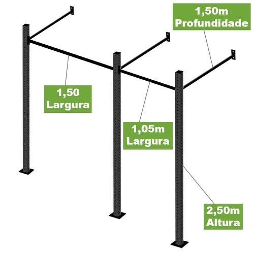 Gaiola Para Treinamento Funcional e Crossfit 2 Módulos - Natural Fitness