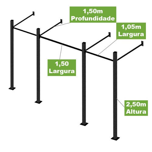 Gaiola Para Treinamento Funcional e Crossfit 3 Módulos - Natural Fitness