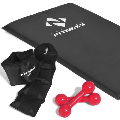 Kit Colchonete Espuma 20 mm + Par de Halter 3kg + Par de Caneleiras 4kg - Natural Fitness