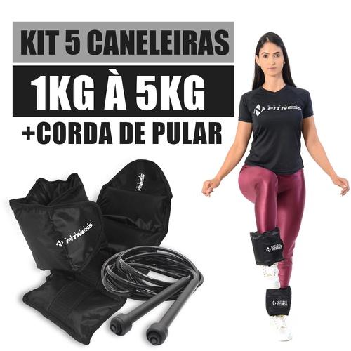 Kit Caneleira de Peso 1kg a 5kg Academia + Corda de Pular - Natural Fitness