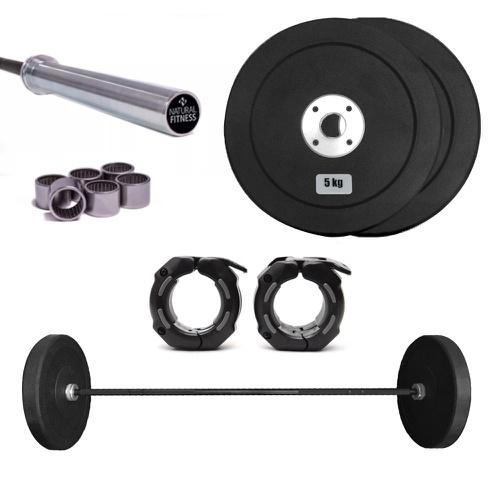 Kit 1 Barra Olímpica LPO Rolamento Feminina e 2 Anilhas de 5Kg +1 Par de Presilh... - Natural Fitness