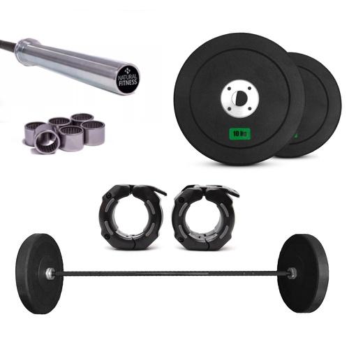 Kit 1 Barra Olímpica LPO Rolamento Masculina e 2 Anilhas de 10Kg + 1 Par de Pres... - Natural Fitness
