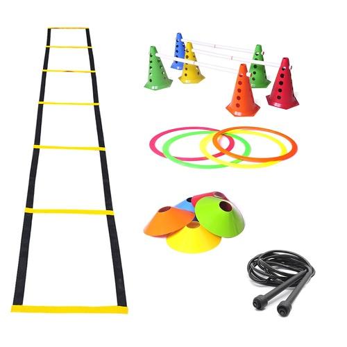 Kit Escada de Agilidade + Chapéu Chinês + Roda Abdominal + Cones com Furo + Corda