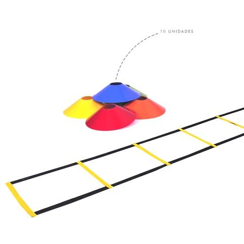 Kit Escada de Agilidade + 10 Chapéu Chinês Para Treino Funcional