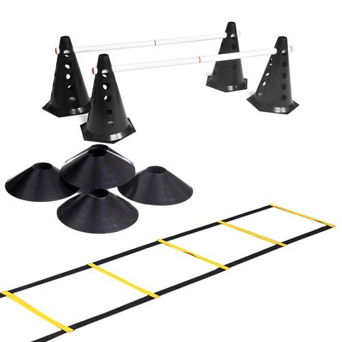 Kit 10 Cones Com Barreira + Escada + 10 Chapéu Chinês Para Treino De Agilidade