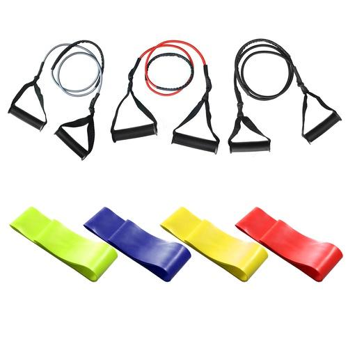 Kit 4 Mini Band Intensidades + Kit 3 Extensor Elástico