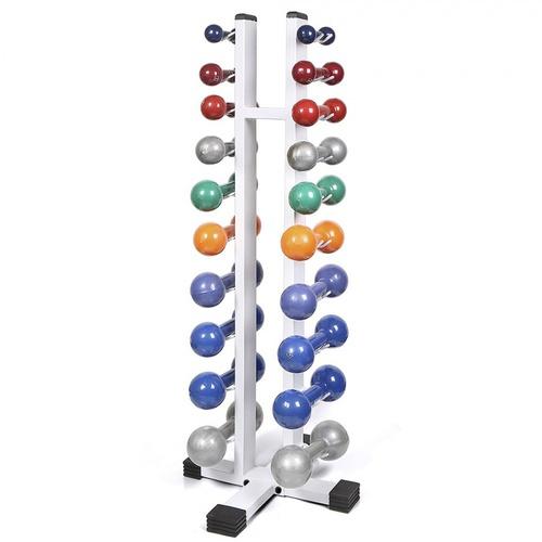 Kit Suporte Torre Para 20 Halteres + Halter revestido de 1 kg a 10 kg - Natural Fitness