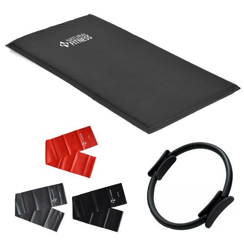 Kit 3 Faixas Elásticas + Anel de Pilates + Colchonete - Natural Fitness