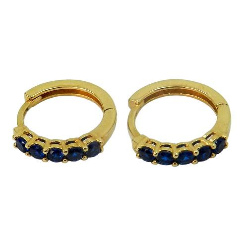 Brincos de Argola Clique de Ouro 18k com Pedras Azuis