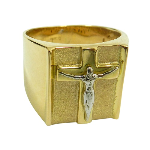 Anel em Ouro Branco e Amarelo 18k Cristo Crucificado
