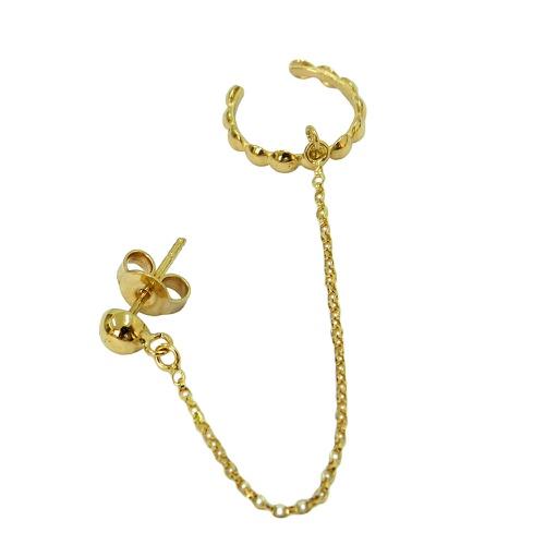 Brinco Ear Cuff em Ouro 18k Bolinhas com corrente