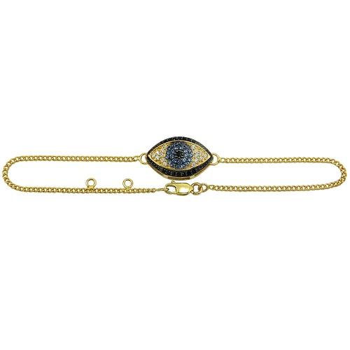 Pulseira em Ouro 18k Olho Grego com Zircônias
