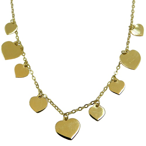 Gargantilha de Ouro 18k com Corações