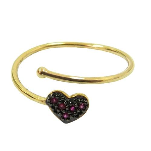 Anel de Falange Coração em Ouro com Rubis