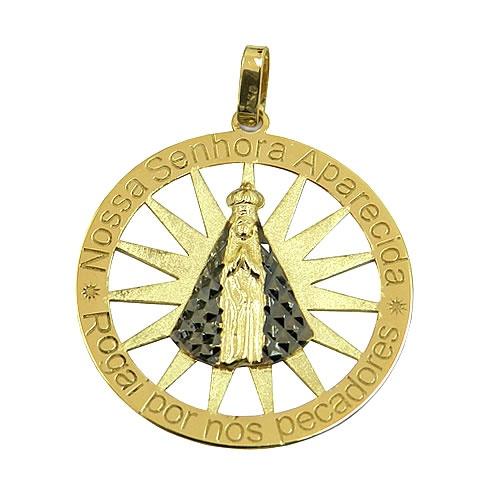 Medalha Nossa Senhora Aparecida em Ouro 18k com gravação