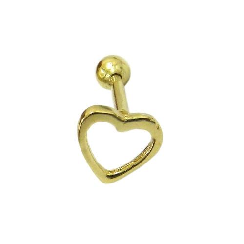 Piercing de Orelha em Ouro 18k Coração Vazado