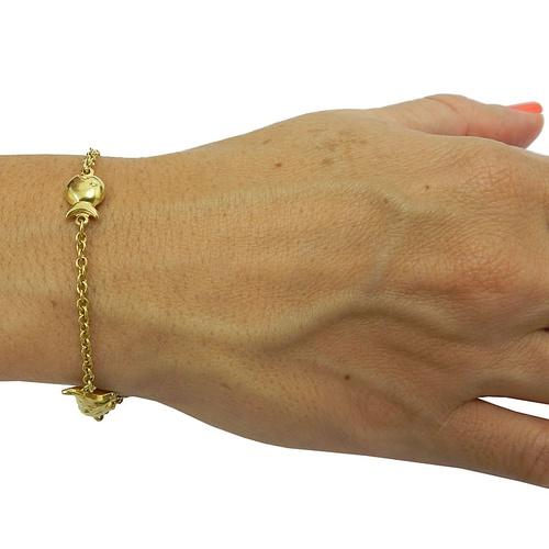 Pulseira de ouro feminina com pingentes