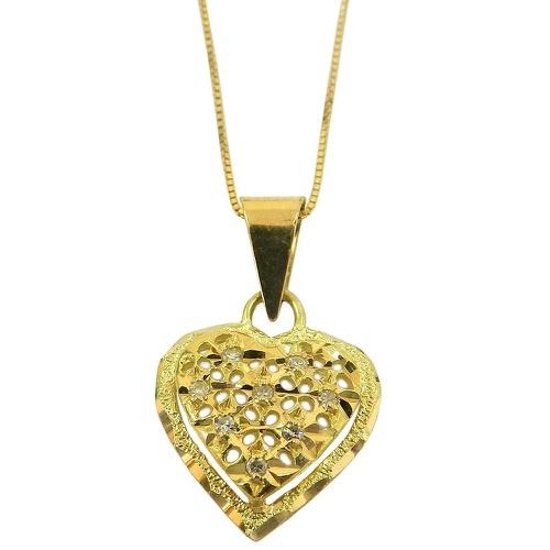 Pingente em Ouro 18k Coração Vazado com Brilhantes