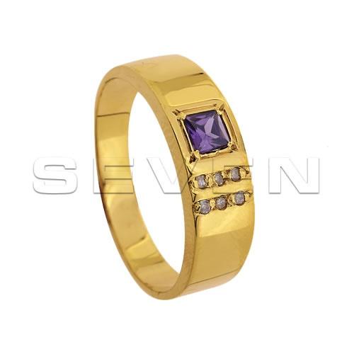 Anéis de formatura Seven em Ouro 18K com Brilhantes e Pedras Naturais