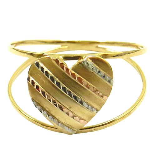 Anel de Ouro Dois Aros com Coração