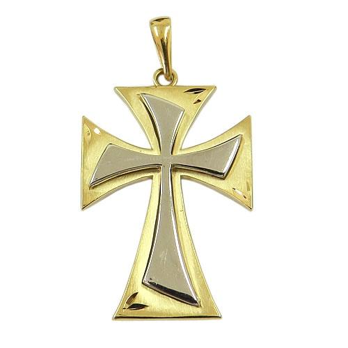 Crucifixo sem Cristo em Ouro Branco e Ouro Amarelo