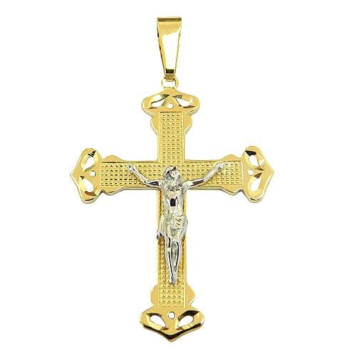 Crucifixo Diamantado com Cristo em Ouro 18K