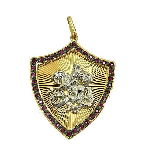Pingente Escudo de São jorge em Ouro 18K com Rubis
