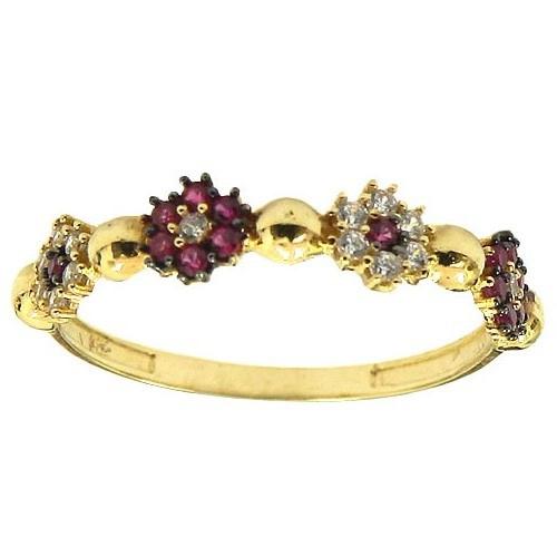 Anéis de Flores Ouro 18K com Zircônias Vermelhas