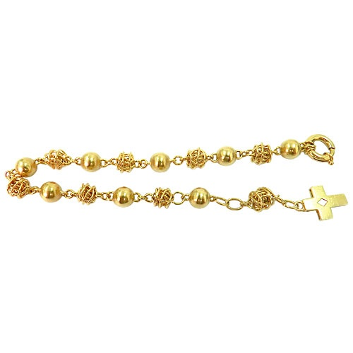 Pulseira em ouro feminina Rosário