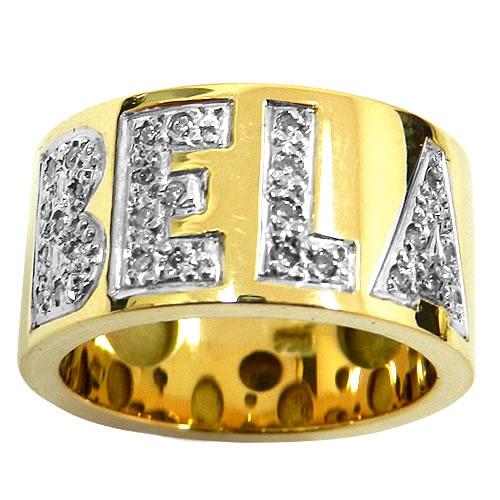 Anéis Largos em ouro manuscrito com brilhantes