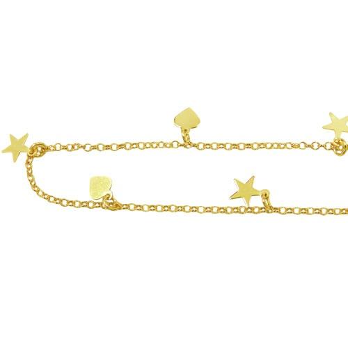 Tornozeleira em Ouro com Corações e Estrelas