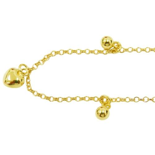 Tornozeleira em Ouro com Coração e Bolinhas