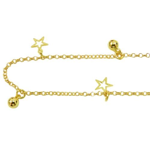 Tornozeleira de Ouro com Bolinhas e Estrelas