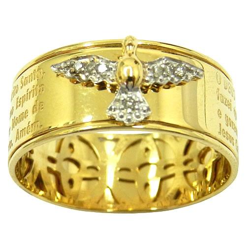 Anel em Ouro com Oração do Espírito Santo