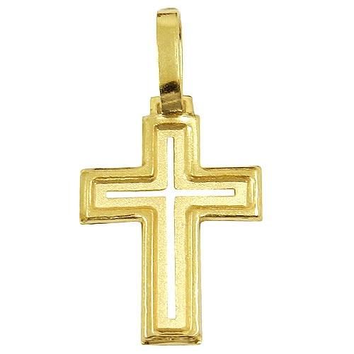 Pingente Cruz de ouro 18k Vazado
