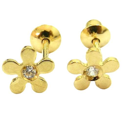 Par de brincos infantil em ouro com zircônia florzinha