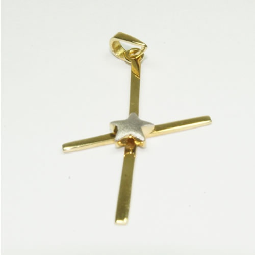 Cruz de ouro com Estrela em ouro Branco