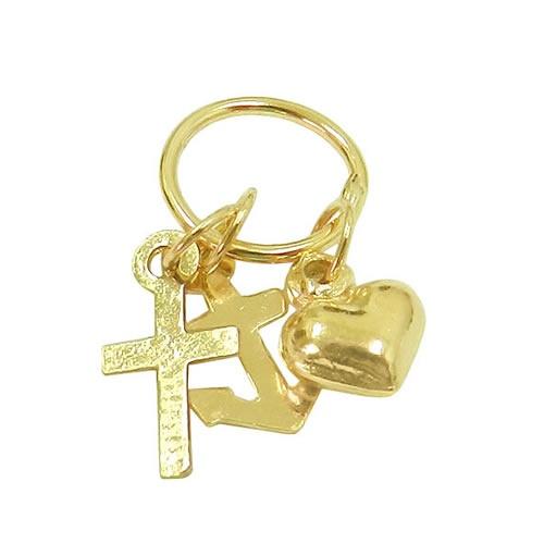 Pingente Fé Esperança Caridade em ouro