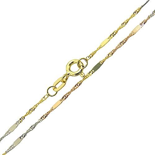 Corrente Italiana Feminina Três Tons de Ouro 18K 45cm