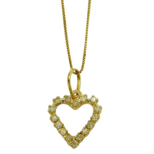 Pingente em Ouro 18k Coração com Brilhantes
