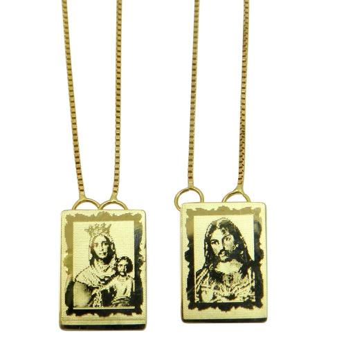 Escapulário de ouro Jesus e Nossa Senhora Laser