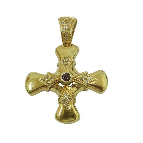 Pingente em Ouro 18k Crucifixo Grande com Pedras Naturais