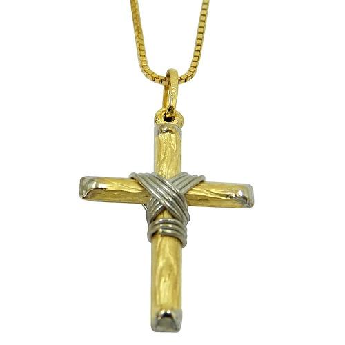 Crucifixo de Ouro Branco e Amarelo Nó