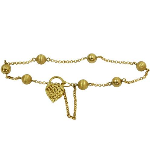 Pulseira de Bolinha em Ouro 18k com Coração
