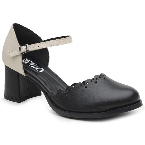 Sapato Boneca Salto Baixo Preto e Branco - Aurora ... - Sapato RetrÔ