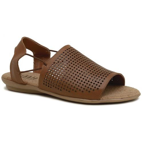 Sandália Rasteira Comfort Couro Legítimo Caramelo ... - Sapato RetrÔ