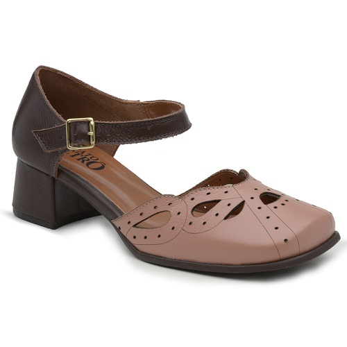 Sapato Boneca Rainha Victoria- GOIABA E MADEIRA - ... - Sapato RetrÔ