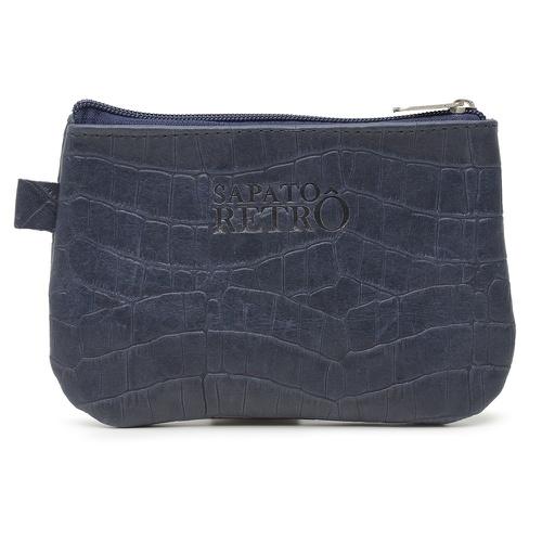 Bolsa de Mão em Couro Legítimo - Azul Marinho Croc... - Sapato RetrÔ