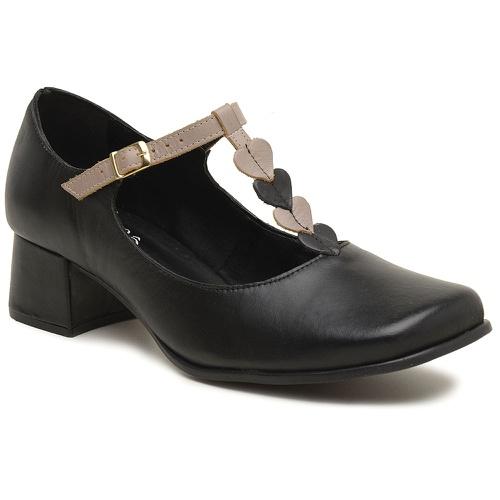 Sapato Boneca Retrô Preto e Nude - Coração - 913-1... - Sapato RetrÔ